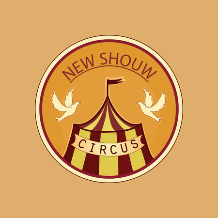 lable: Hand drawn circus lable with New School with circus tent Illustration