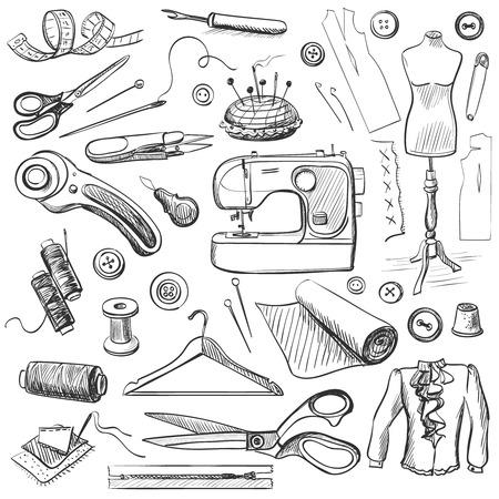 Hand gezeichnet Symbole Nähen mit einer Nähmaschine, Faden, Schere, Spulen, Spulen, Kleiderbügel, Nadeln, Lineal, Kleidung, Mannequin gesetzt, Knöpfe.