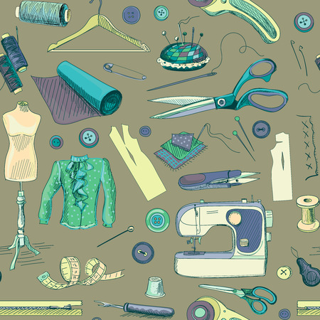 sewing materials: Hand drawn sewing pattern with a sewing machine, thread, scissors, spools, bobbins, cloth hanger, needles, ruler, clothes, mannequin, buttons.