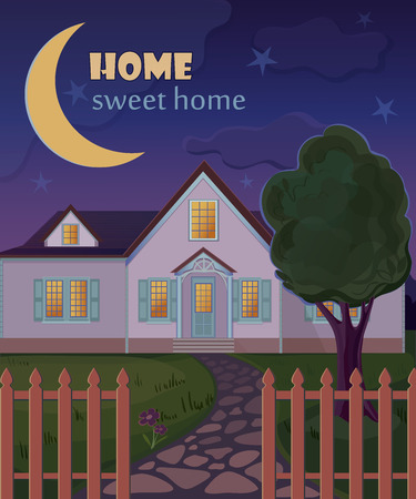 home concept: Vintage Home sweet home poster design. Retro sign template.