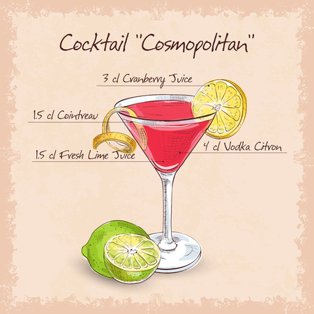 Red Cosmopolitan Cocktail served with a slice of a lime, low-alcohol drink