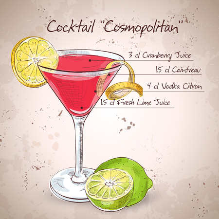 cosmopolitan: Red Cosmopolitan Cocktail served with a slice of a lime, low-alcohol drink