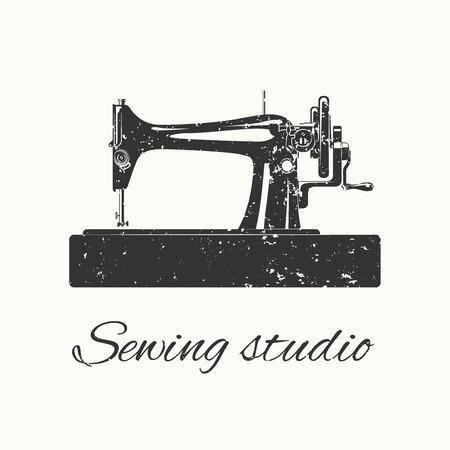 textile machine: sewing studio emblem in retro vintage style