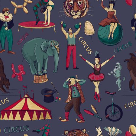 circus elephant: Sketch circles seamless pattern with acrobats