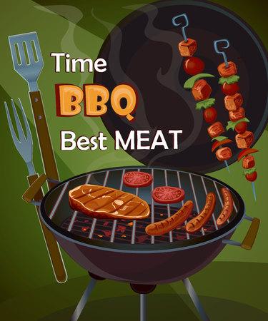 Vintage BBQ poster met smakelijke vlees, worst en gegrilde groenten Stockfoto - 46954676