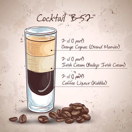 black coffee: B52 cocktail served at bar
