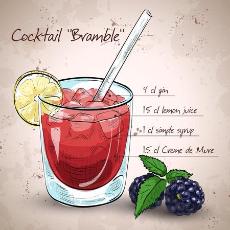 bramble: Alcoholic cocktail Bramble with Gin, lemon, sugar syrup, Blackberry liqueur