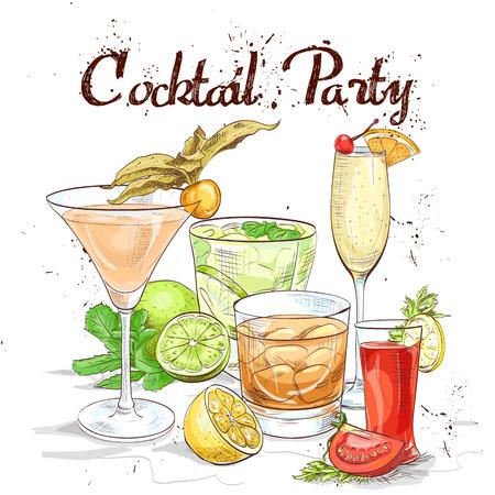 classics: Contemporary Classics Cocktail Set cocktail party, excellent vector illustration