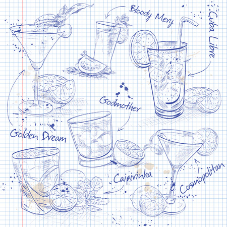 classics: Contemporary Classics Cocktail Set on a notebook page, excellent vector illustration