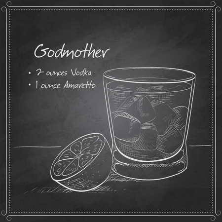 godmother: Alcoholic Cocktail Godmother with Vodka and liqueur Amaretto on black board Illustration