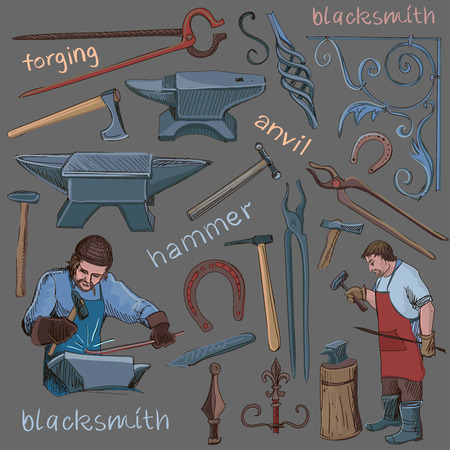 smithery: Collection of hand drawn blacksmith icons, such as horseshoe, sledgehammer, vise, oven for your design