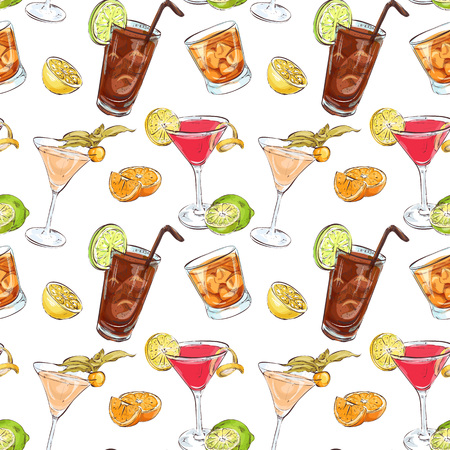 cocktails: Color pattern contemporary classics cocktails on white background. Background for use in design, web site, packing, textile, fabric
