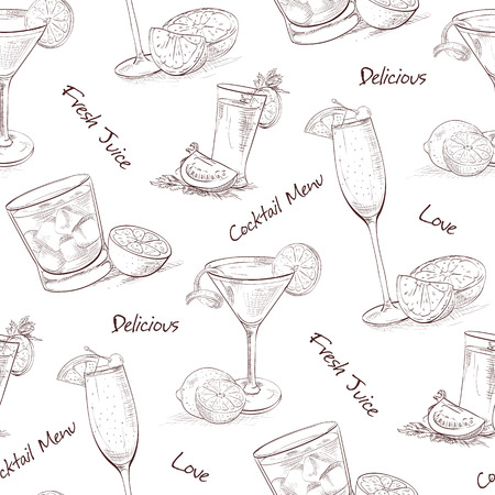 classics: Color pattern contemporary classics cocktails on white background. Background for use in design, web site, packing, textile, fabric