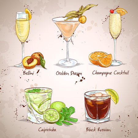 Contemporary Classics Coctail Set, excellent vector illustration  Illustration