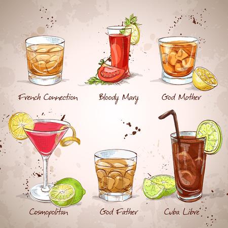 margarita cocktail: Contemporáneo Clásicos Coctail Set, excelente ilustración vectorial