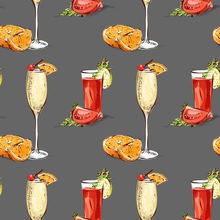 Kleurpatroon hedendaagse klassiekers cocktails op een witte achtergrond. Achtergrond voor gebruik in design, web site, verpakking, textiel, stof Stock Illustratie