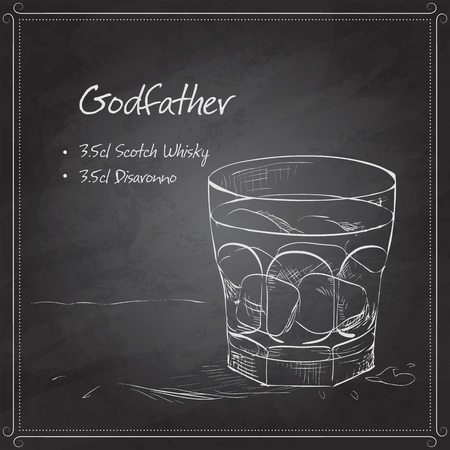 Alcoholic Cocktail Godfather with Scotch whiskey and liqueur Amaretto on black board