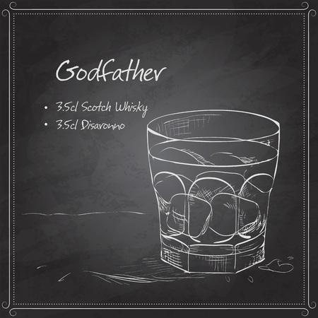 fiambres: Padrino Alcohol con whisky escoc�s y Amaretto licor a bordo negro