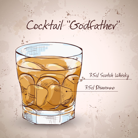 Alcoholic Cocktail Godfather with Scotch whiskey and liqueur Amaretto Illustration