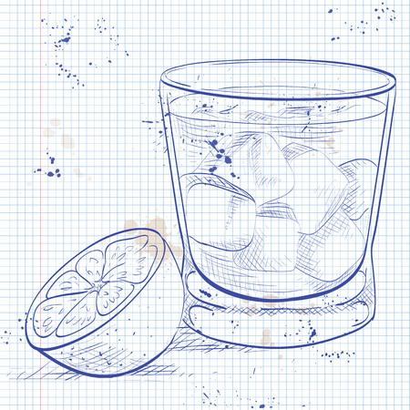 fiambres: Madrina Alcohol en una página de cuaderno con vodka y licor de Amaretto Vectores