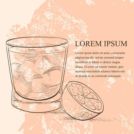cocteles: Alcohólicas scetch madrina Cóctel con vodka y licor de Amaretto Vectores