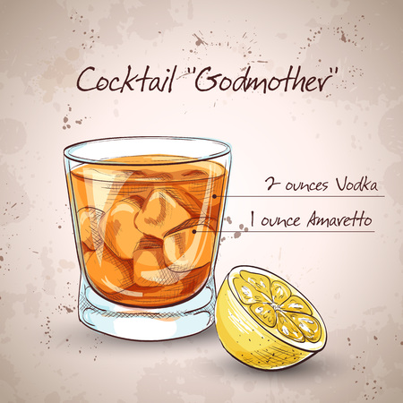 godmother: Alcoholic Cocktail Godmother with Vodka and liqueur Amaretto Illustration