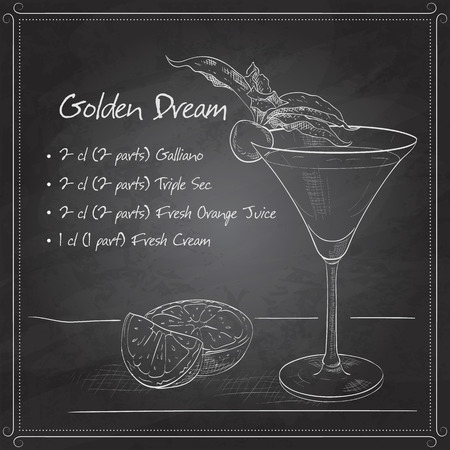 slate: Golden Dream is a cocktail that contains  Cointreau, fresh orange juice and fresh cream on black board. It is classed as an after dinner drink.