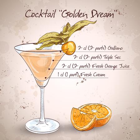 verre de jus d orange: Golden Dream est un cocktail qui contient du jus d'orange frais et de cr�me fra�che. Il est class� comme un verre apr�s le d�ner. Illustration