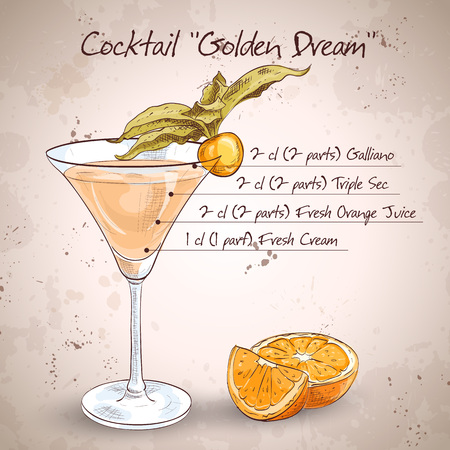 fresh juice: Golden Dream is a cocktail that contains fresh orange juice and fresh cream. It is classed as an after dinner drink.
