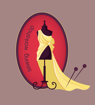 mannequin: Tir� par la main coudre lable avec mannequin dans une robe. Vector illustration.