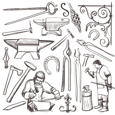 smithery: Hand drawn sketch blacksmith set, such as horseshoe, sledgehammer, vise, oven for your design Illustration