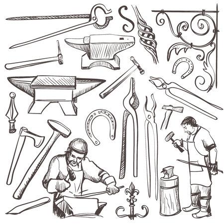 Handskizze Schmied Satz gesaugt, wie Hufeisen, Vorschlaghammer, Schraubstock, Backofen für Ihr Design