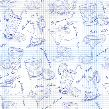 scetch: Scetch pattern contemporary classic cocktails on notebook page, excellent vector illustration,