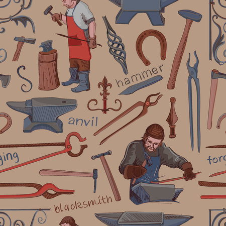 smithery: Seamless pattern with objects on blacksmith theme with horseshoe, sledgehammer, vise, oven for your design Illustration