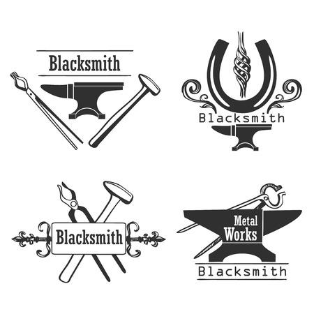 metalwork: Set of vintage monochrome blacksmith labels and design elements. Vector illustration.