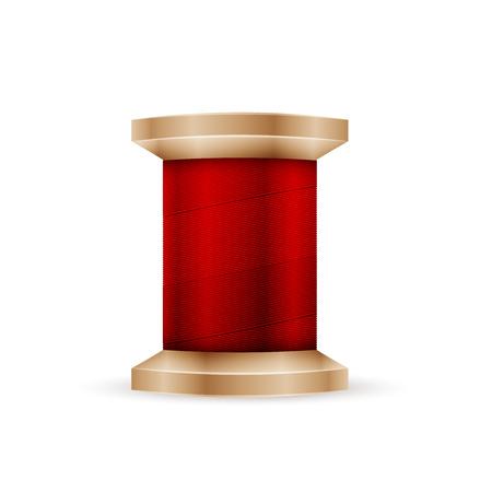 hilo rojo: Carrete de hilo rojo aislado en fondo blanco Vectores