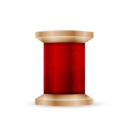 spool: Spool of red thread isolated in white background