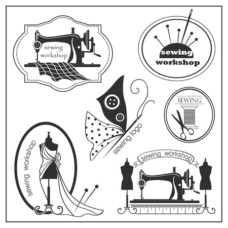 sewing button: Sketch sewing lable     in vintage style. Vector illustration.   Illustration