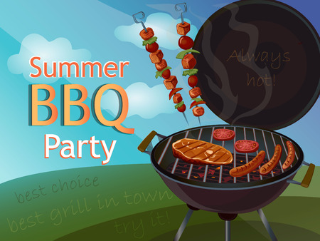 Vintage BBQ poster for your design, excellent vector illustration