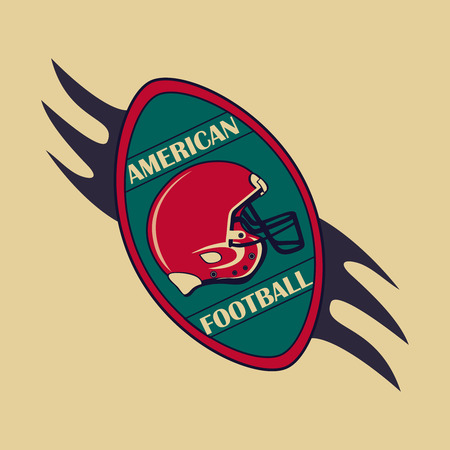 american vintage: American Football  and emblem. Sports theme. Vector illustration.