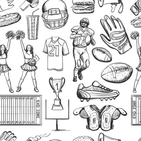 American Football seamlees patroon met apparatuur zoals helm, beker, vorm, bal, cheerleaders, speler, sneakers. Sport achtergrond