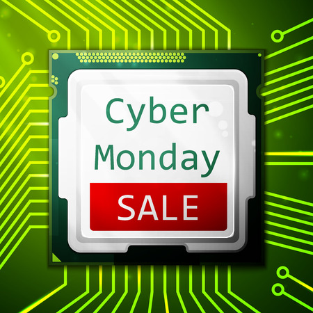 circuit sale: Cyber Monday Sale poster, electronic circuit board with processor. Vector illustration