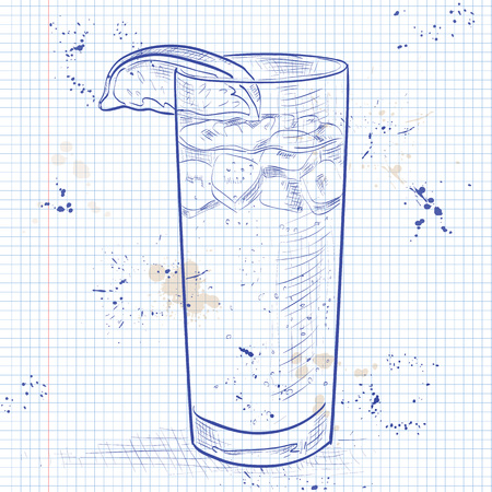 mixed drink: Cocktail Dark N Stormy mixed drink with Dark rum, ginger beer, ice cubes, lime on a notebook page Illustration