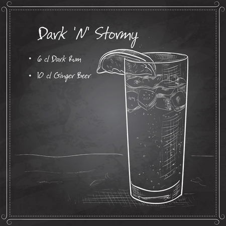Cocktail Dark N Stormy mixed drink with Dark rum, ginger beer, ice cubes, lime on black board