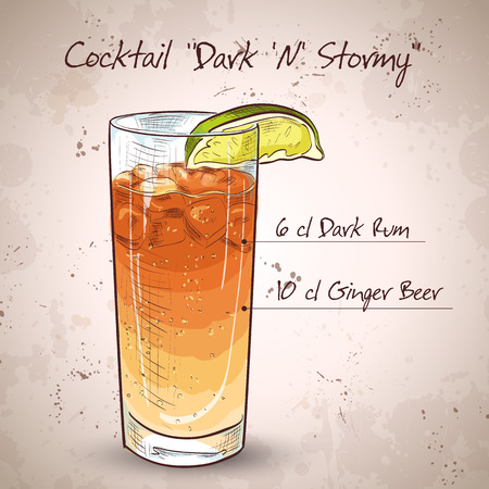 mixed drink: Cocktail Dark N Stormy mixed drink with Dark rum, ginger beer, ice cubes, lime