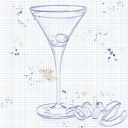 Cocktail Dirty Martini mixed drink with Vodka, dry vermouth, olive juice, ice cubes, olives on a notebook page