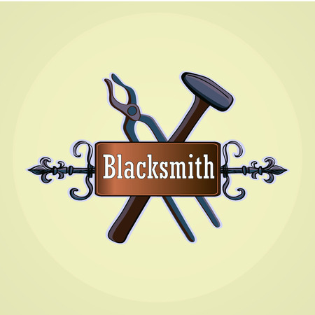 Hand drawn blacksmith labels with sledgehammer, hammer and vise