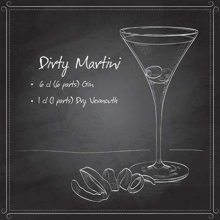 Cocktail Dirty Martini mixed drink with Vodka, dry vermouth, olive juice, ice cubes, olives on black board