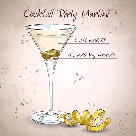 copa martini: C�ctel Dirty Martini c�ctel con vodka, vermouth seco, zumo de aceitunas, cubitos de hielo, las aceitunas Vectores