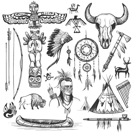 cartoon axe: Set of wild west american indian designed elements. Illustration